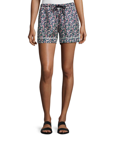 Moncler Floral Silk Satin Bermuda Shorts, Navy