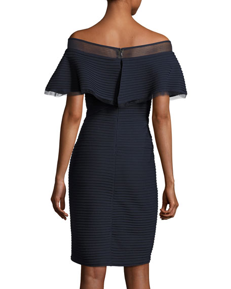 Off-the-Shoulder Pintucked Ponte Cocktail Dress