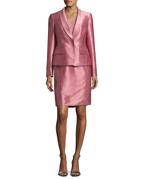 Albert Nipon Satin Single-Button Jacket w/ Dress, Pink