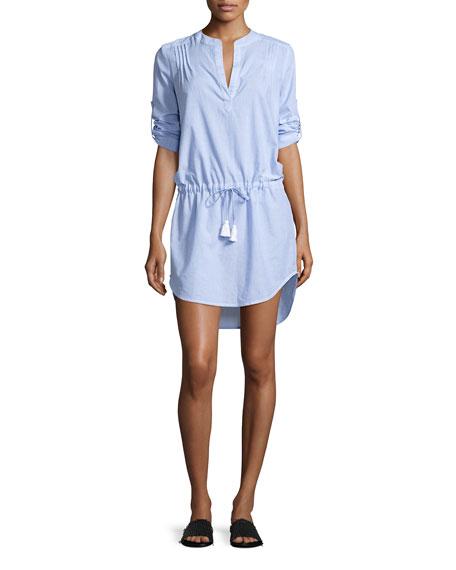 Heidi Klein Corsica Pintuck Tunic Coverup, Blue