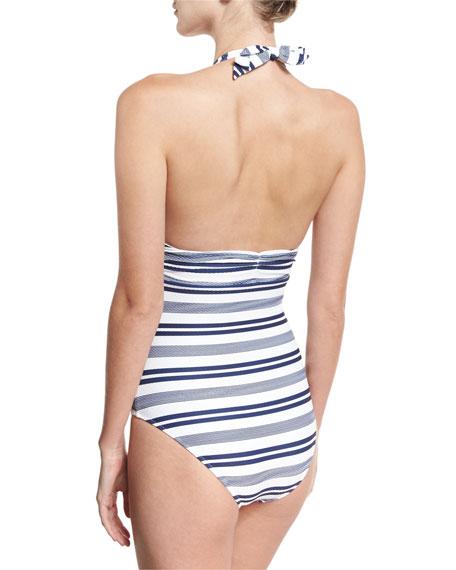 Martha's Vineyard Striped Halter One-Piece Swimsuit, White/Blue Pattern