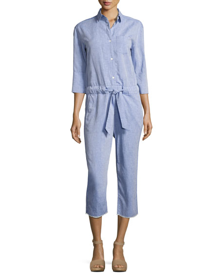DL1961 Premium Denim Watermill 3/4-Sleeve Belted Jumpsuit, Blue