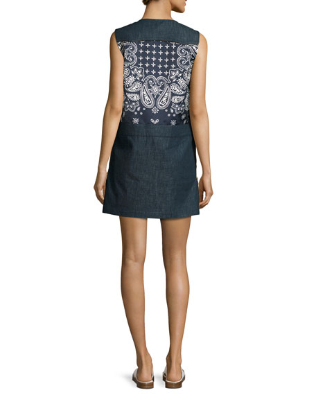 Sleeveless Bandana-Trim Denim Shift Dress, Navy