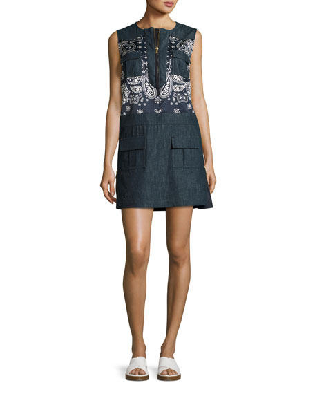 Moncler Sleeveless Bandana-Trim Denim Shift Dress, Navy