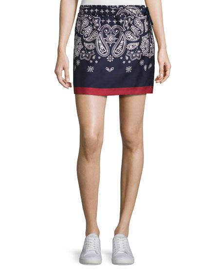 Gona Silk Satin Bandana Skirt, Navy