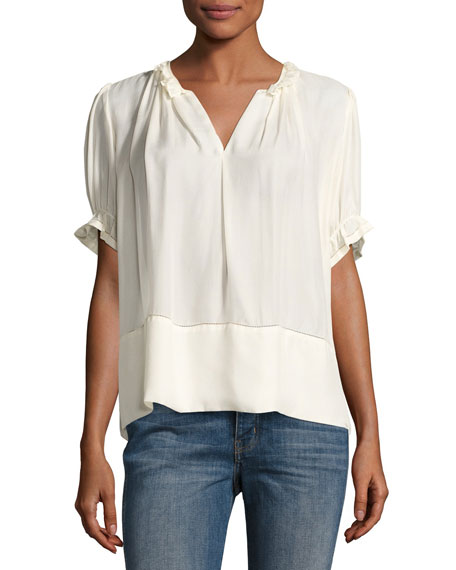 The Great The Story Split-Neck Silk Blouse, Cream