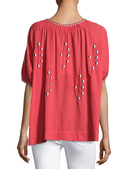 The Hacienda Embroidered Top, Pink