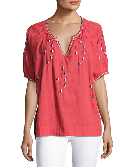 The Great The Hacienda Embroidered Top, Pink