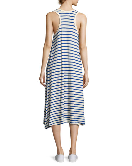 The Swing Tank Striped Midi Dress, Blue/White