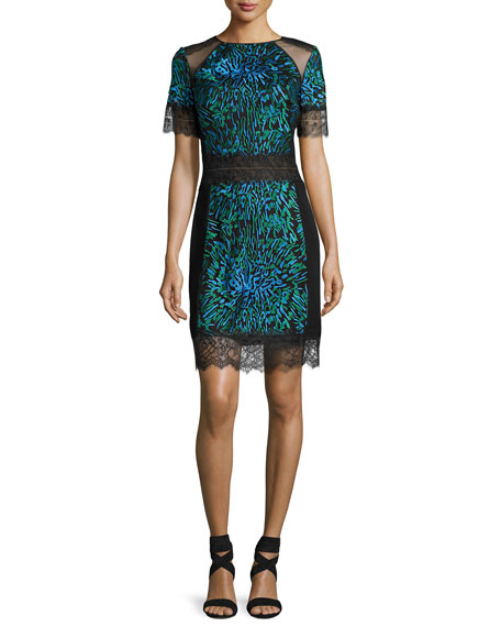 Tadashi Shoji Short-Sleeve Printed Lace-Trim Cocktail Dress, Blue