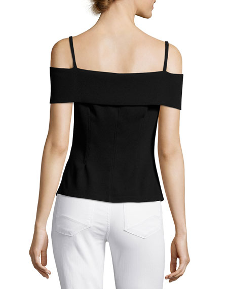 Bertson Cold-Shoulder Crepe Top, Black