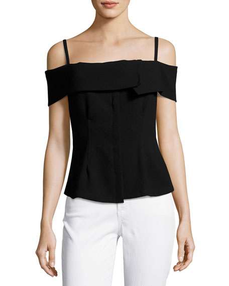 Theory Bertson Cold-Shoulder Crepe Top, Black