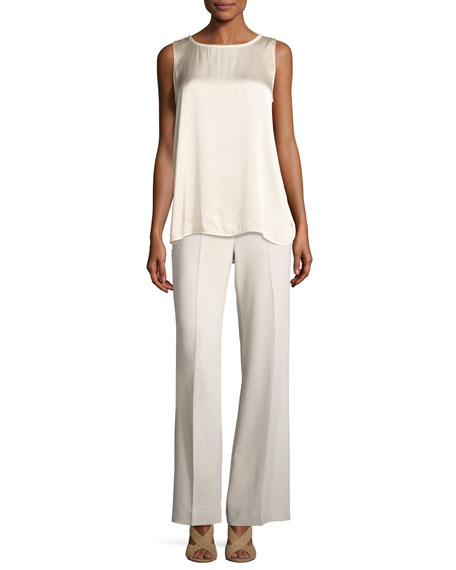 Terry Crepe Straight-Leg Side-Zip Pants, Beige