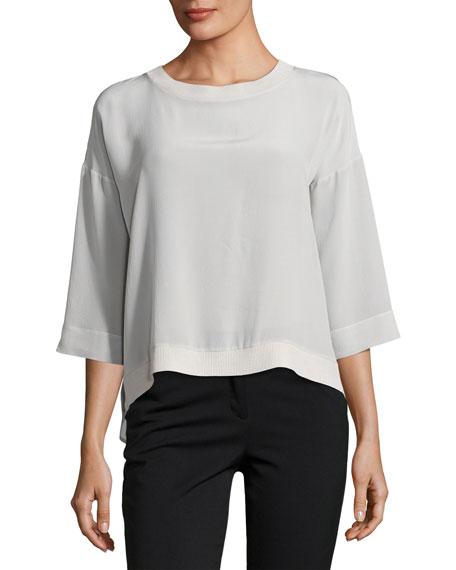 Antonelli Palermo 3/4-Sleeve Silk Top, Gray