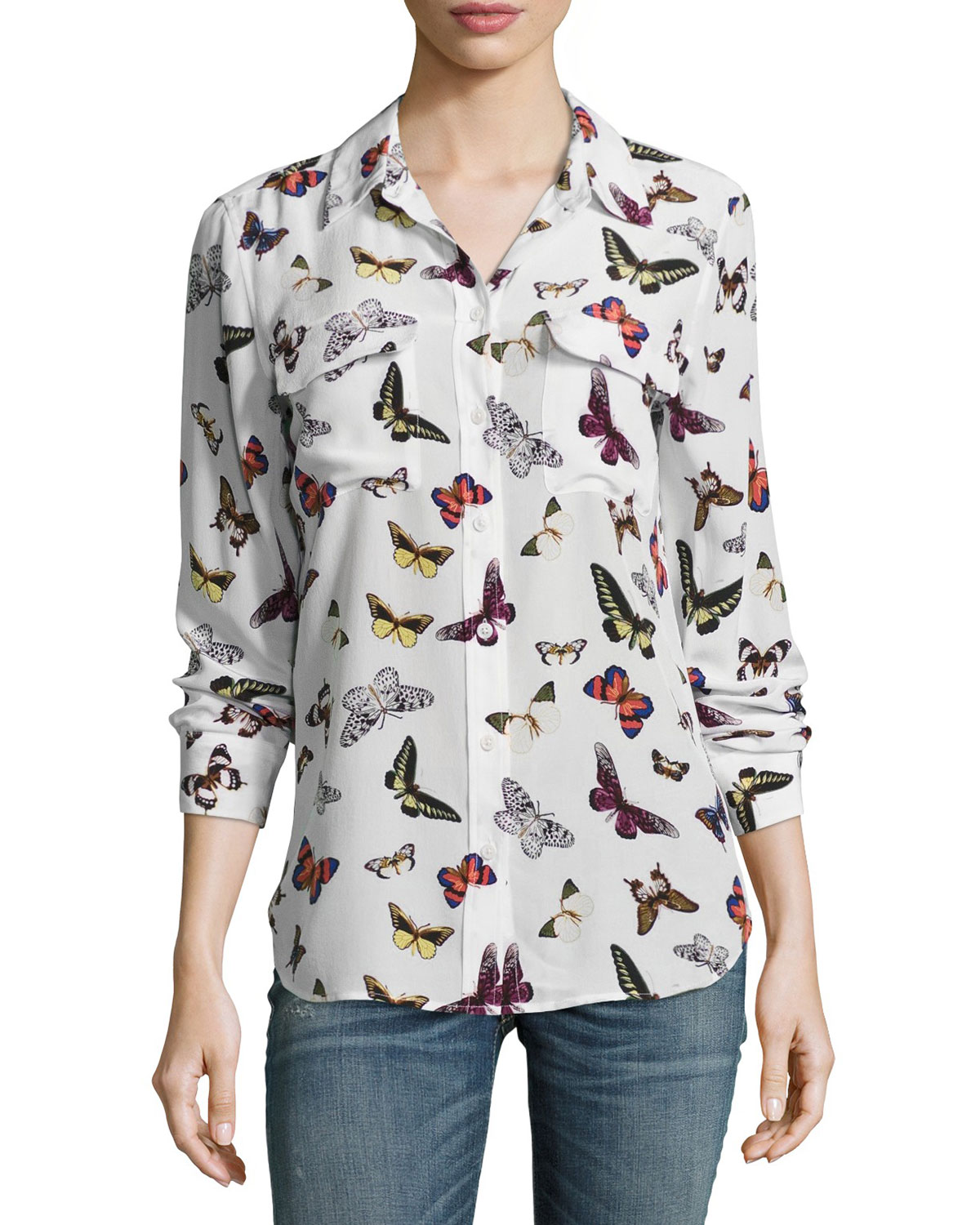 78e86965292d87 Equipment Slim Signature Butterfly-Print Long-Sleeve Shirt