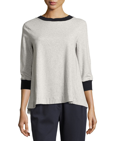 Antonelli Barcelona 3/4-Sleeve Tee w/ Pleated Back, Multi