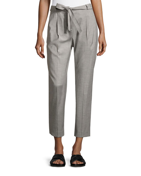 Rimini Tie-Front Straight Ankle Pants, Gray