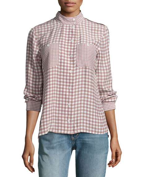 Equipment Alma Gingham Stand-Collar Silk Shirt, Pink/White