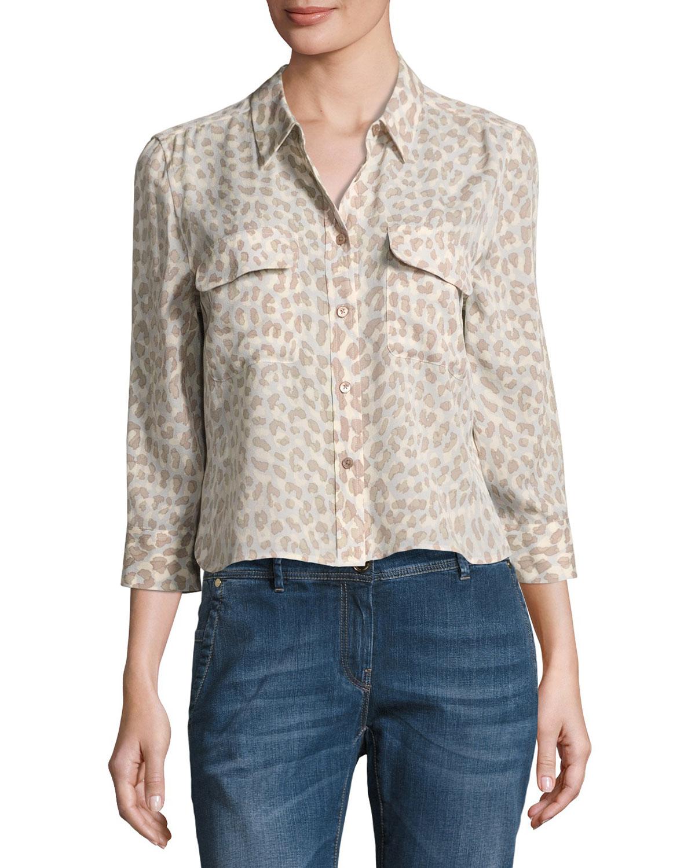 c25ab1279e Equipment Leopard-Print 3 4-Sleeve Cropped Slim Signature Silk Shirt ...