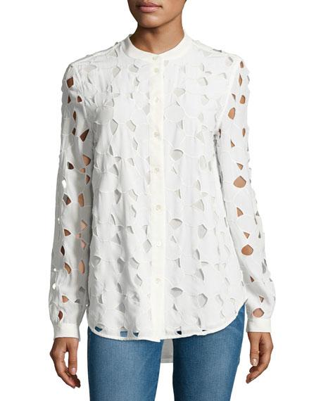 Equipment Henri Embroidered Cutout Silk Shirt, White