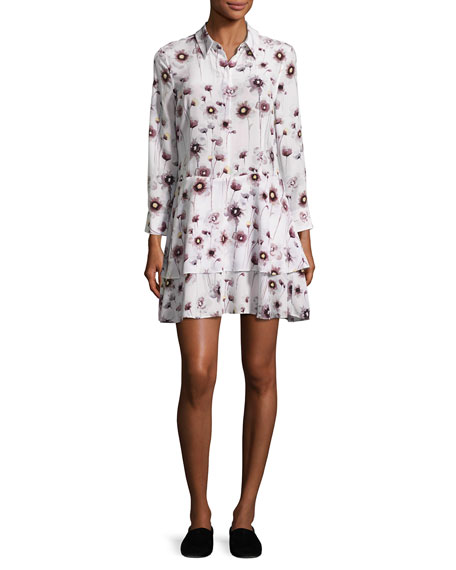 Equipment Natalia Floral Tiered Silk Shirtdress, White