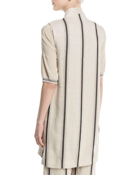 Eboli Long Striped Linen-Blend Vest, Beige