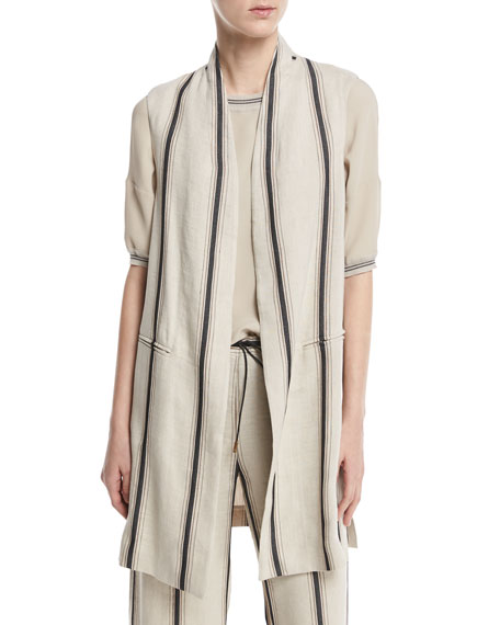 Antonelli Eboli Long Striped Linen-Blend Vest, Beige