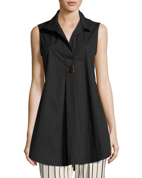 Antonelli Livigno Long Sleeveless Stretch-Cotton Tunic, Black