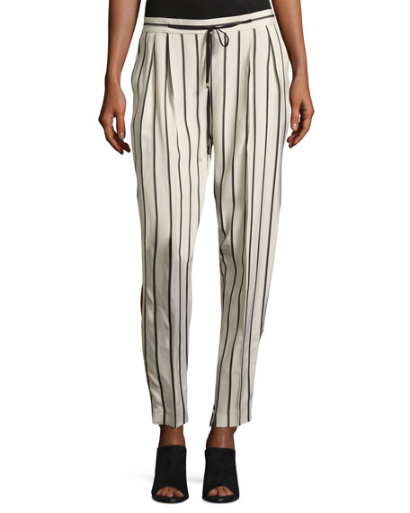 Antonelli Tortona Striped Slouchy Straight-Leg Pants, Multi
