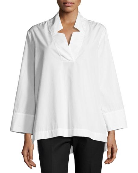 Antonelli Ascoli Long-Sleeve Boxy Cotton Tunic, White