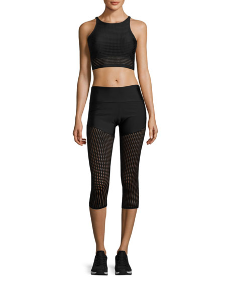Half & Half Mesh Capri Performance Leggings, Black