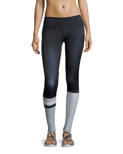 Graphic Printed Sport Leggings, Hex (Blue Multicolor)