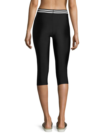 Elastic Band Capri Performance Leggings, Black