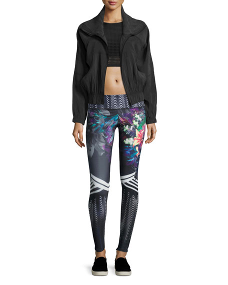 Graphic Printed Sport Leggings, Tiger Lily