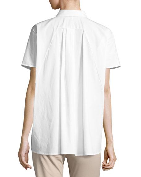 Ancona Short-Sleeve Pleated-Back Shirt, White