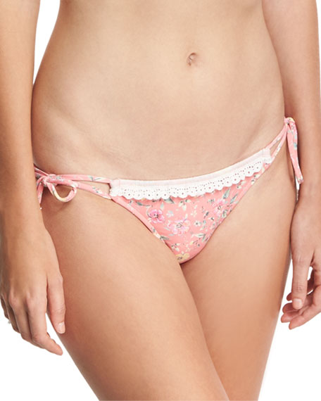 Ale by Alessandra Floral-Print California Tie-Side Swim Bottom,