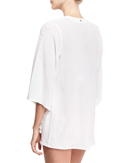Tassel-Trim Open Gauze Jacket, White