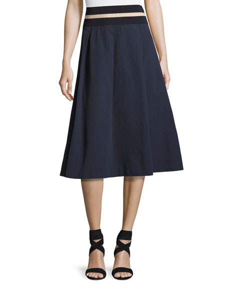 Ischia Pebbled Stretch-Cotton Skirt, Navy