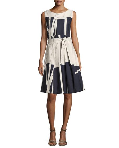 antonelli madagascar sleeveless belted a line dress beige