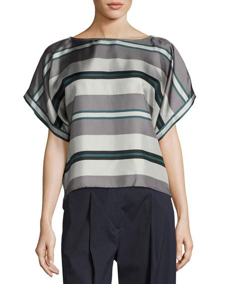 Antonelli Bassano Short-Sleeve Striped Silk Tie-Back Top, Gray