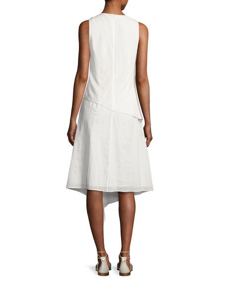 Fernay Paneled Sleeveless Handkerchief-Hem Midi Dress, Bright White