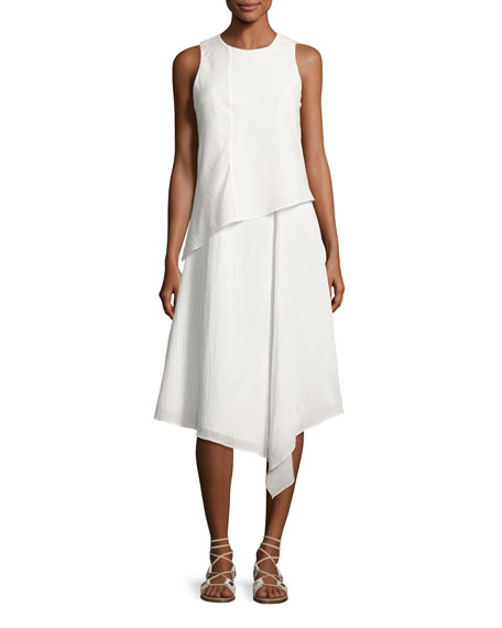 Fernay Paneled Sleeveless Handkerchief-Hem Midi Dress, Bright White
