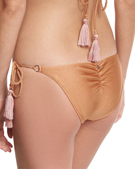 California Tie-Side Swim Bikini Bottom, Brown