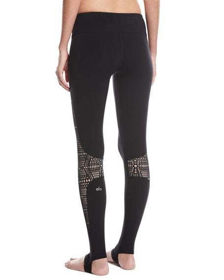 West Coast Laser-Cut Performance Leggings, Black