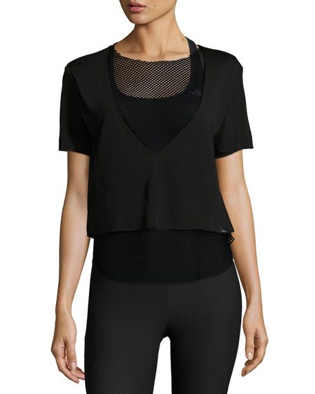 Koral Activewear Double Layer Mesh Tee, Black