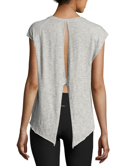 Dismount Cutout-Back Muscle Top, Light Gray