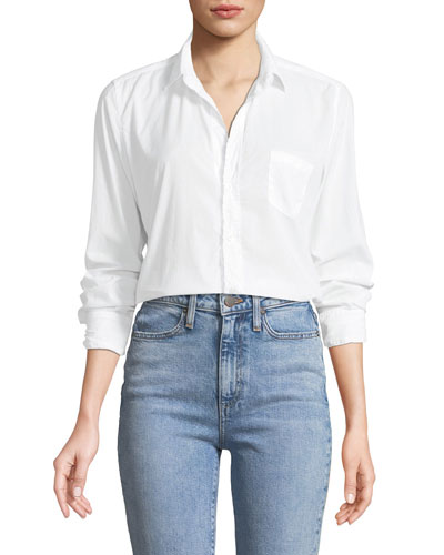 Barry Button-Front Poplin Top