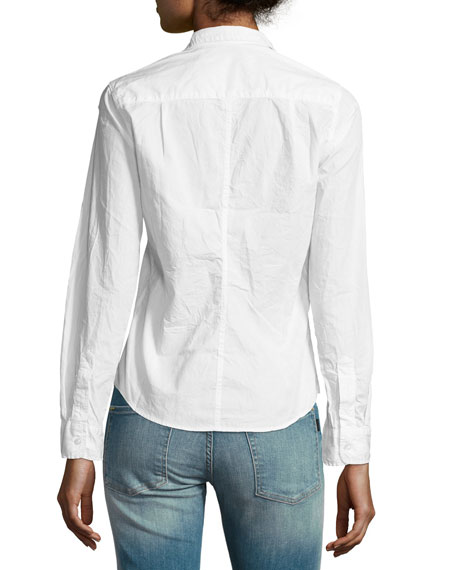 Barry Buttoned Poplin Shirt, White