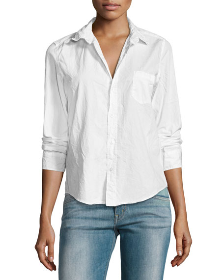 Frank & Eileen Barry Buttoned Poplin Shirt, White