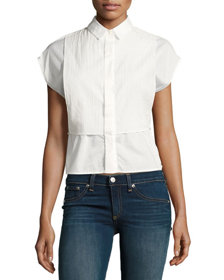 Stevie Short-Sleeve Bib Shirt, Bright White